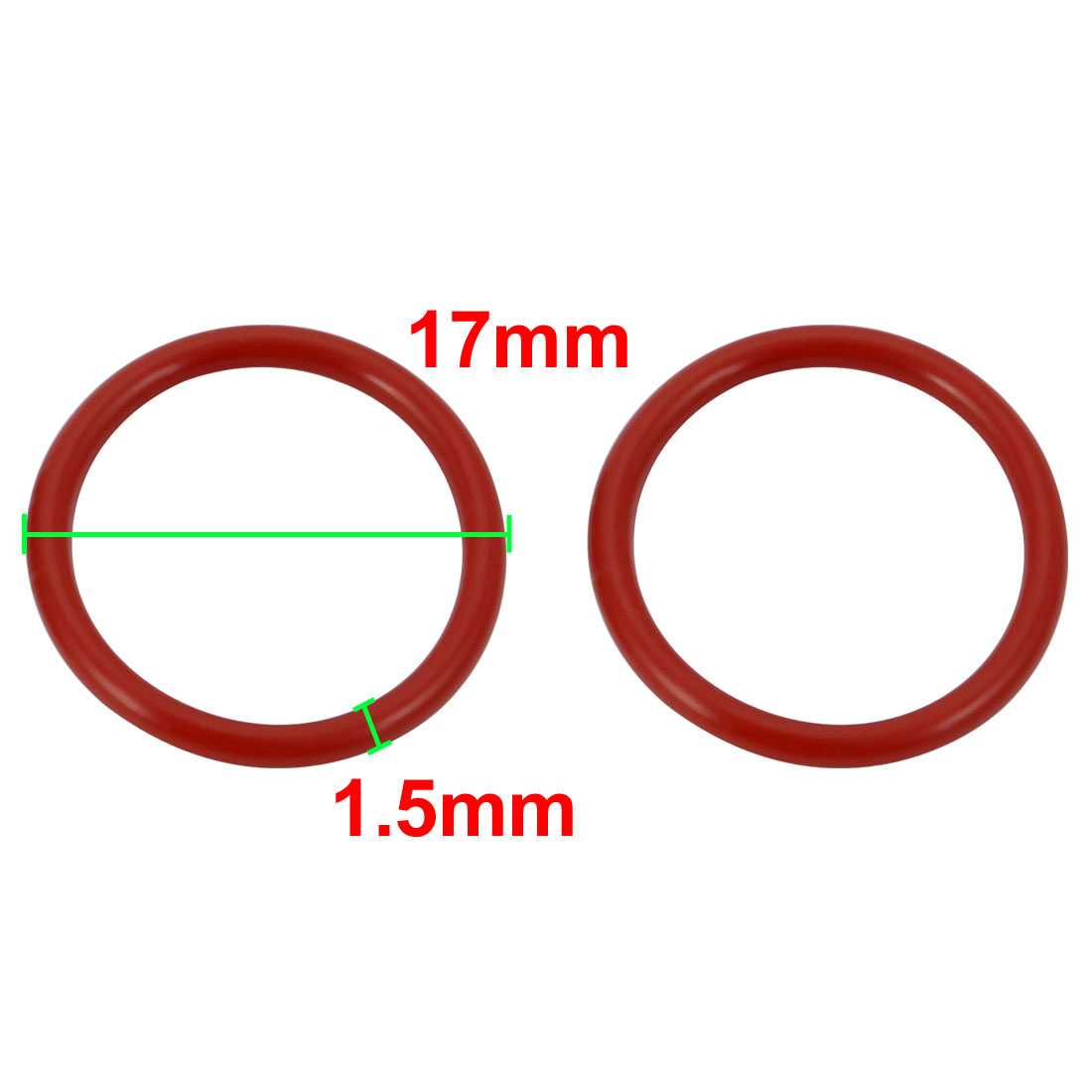 40pcs Red 17mm Outer Dia 1.5mm Thickness Sealing Ring O-shape Rubber Grommet - image 1 of 2