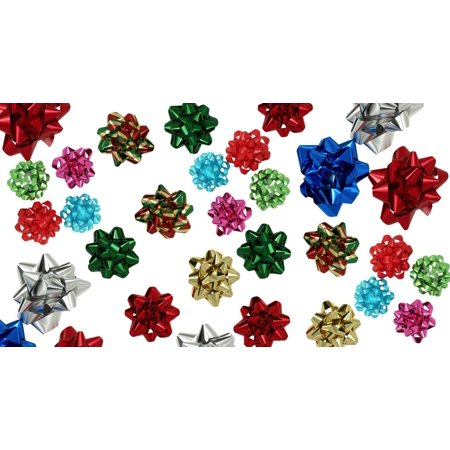 Christmas Pull Bows for Gifts (54 pc / 3 Sizes); Boxed to prevent damage! Peel N Stick, Assortment Design (Bow Assortment)