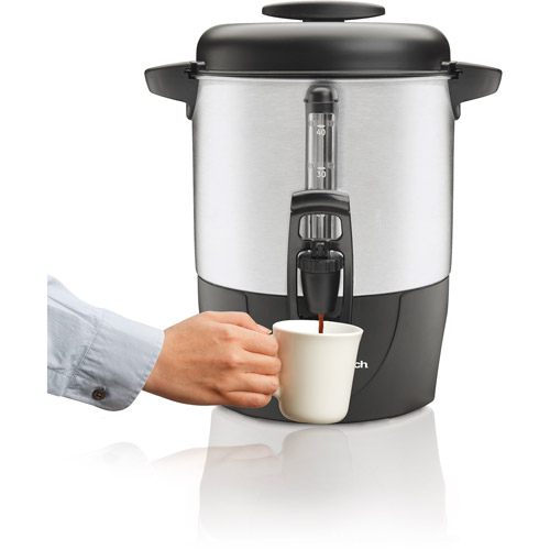 Hamilton Beach 40-Cup Dispensing Coffee Urn, 40514, Black and Silver