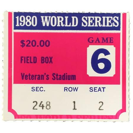 1980 World Series Game 6 Field Box Ticket Stub Phillies vs (1996 World Series Game 6 Box Score)