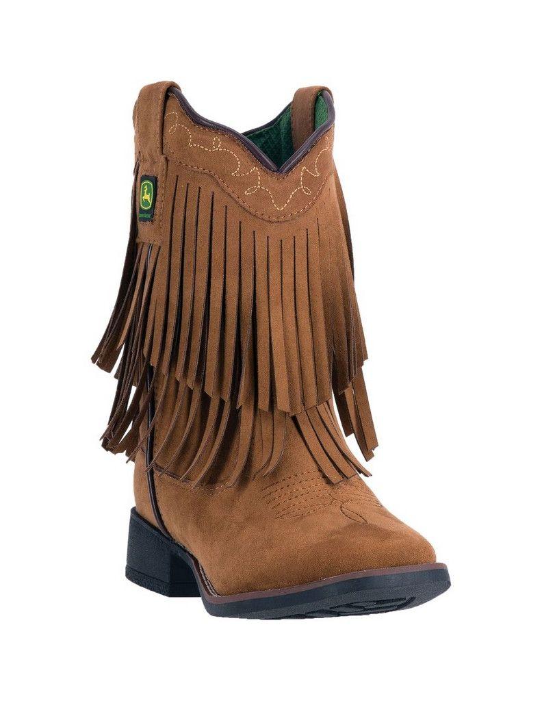 John Deere Western Boot Girls Kids Micro Fringe Broad Toe Brown JD2026 by John Deere