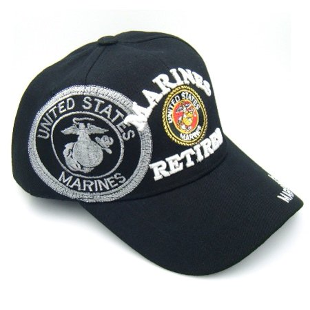 Black Color Marines Retired Baseball Cap Adjustable Snap Back Baseball Caps MAR-11