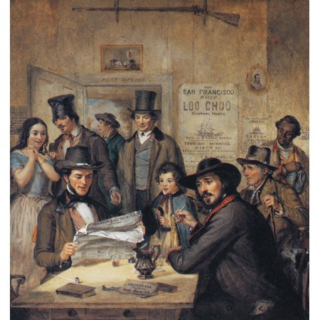California Gold Rush 1850 Ncalifornia News Or News From The Gold Diggins Oil On Canvas 1850 By William Sidney Mount Depicting A Group Of New Yorkers Excited And Enticed By The Latest News Of Riches To