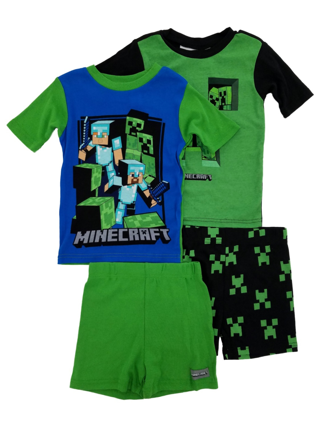 Mojang Minecraft Creeper Boys 4-Piece T-Shirts & Shorts Sleepwear Pajama Sets 6