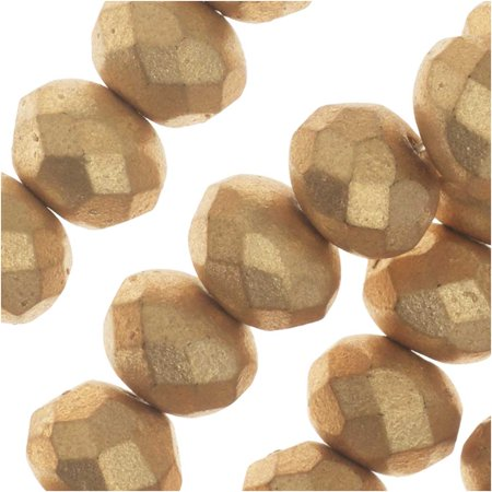 - Czech Fire Polished Glass, Donut Rondelle Beads 8.5x6mm, 25 Pieces, Bronze Pale Gold