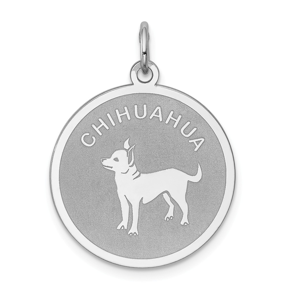Sterling Silver Engravable Chihuahua Disc Charm (1in long x 0.7in wide)