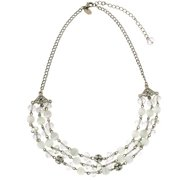 Fantasy White Crystal Beaded Statement Necklace