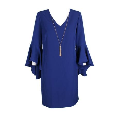 Embellished Neck Shift Dress (Msk Indigo Embellished Bell-Sleeve Shift Dress)