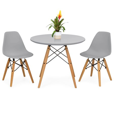 Best Choice Products Kids Mid-Century Modern Eames Style Dining Room Round Table Set with 2 Armless Wood Leg Chairs, Gray ()