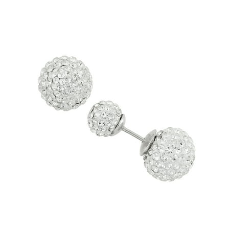 White Crystal 7mm and 10mm Double Front-Back Ball Sterling Silver Stud