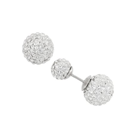 - White Crystal 7mm and 10mm Double Front-Back Ball Sterling Silver Stud Earrings