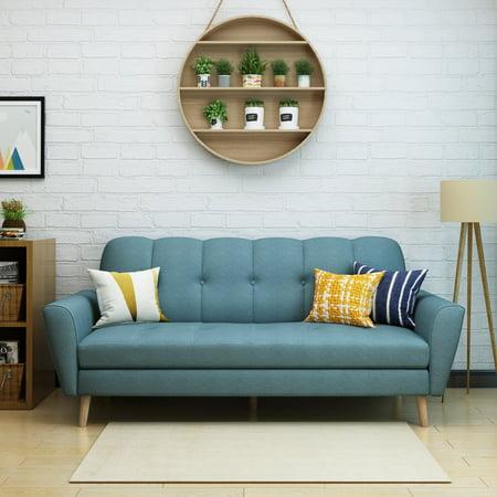 Noble House Toronto Mid Century Fabric Sofa,Blue ()