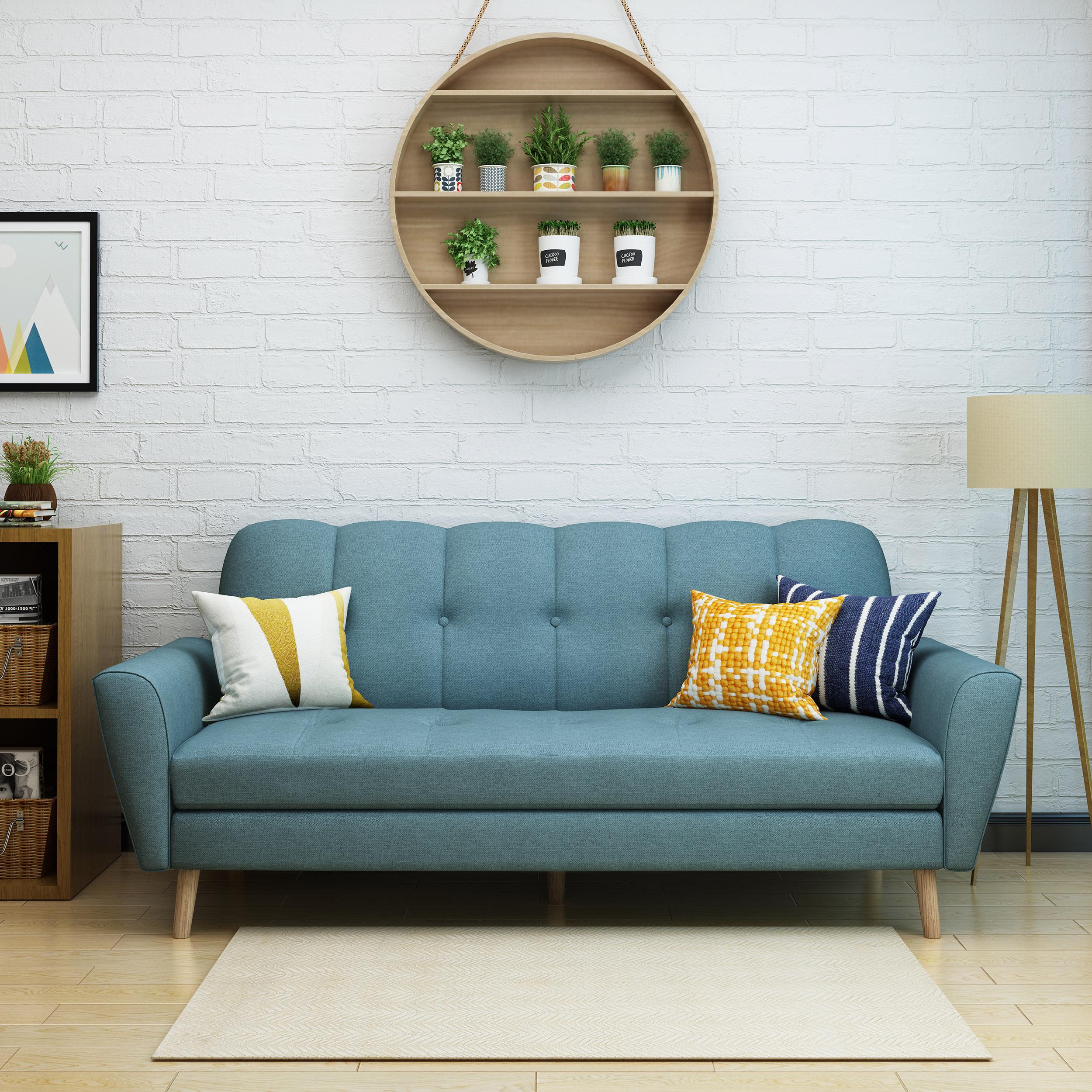 Noble House Toronto Mid Century Fabric Sofa,Blue