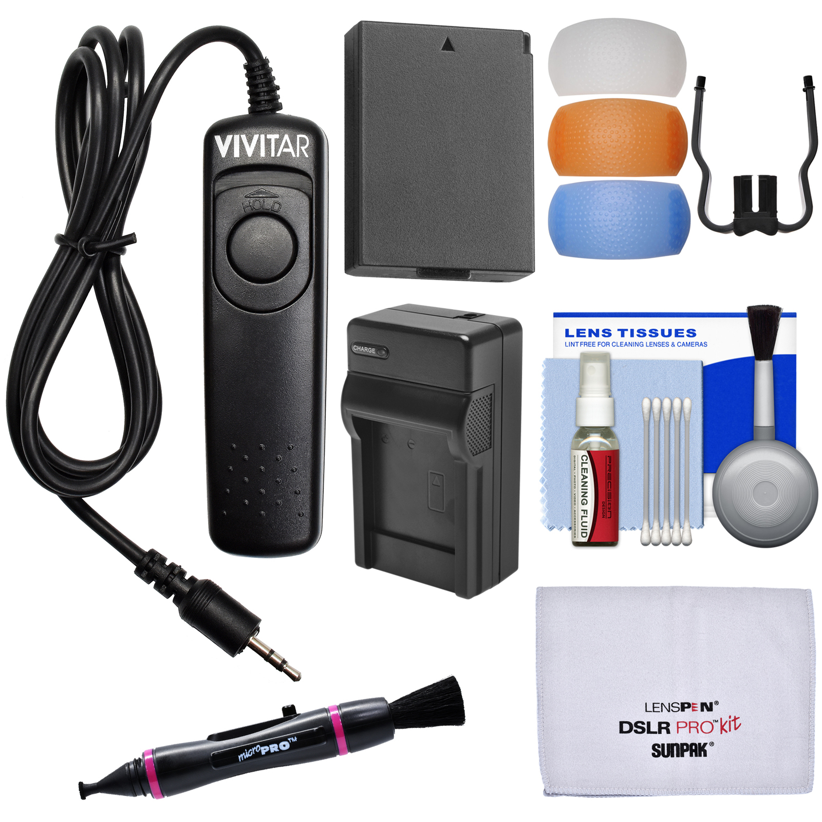 Vivitar RS-60E3 Remote Shutter Release for Canon Cameras with LP-E10 Battery & Charger + Kit for EOS Rebel T5 & T6 DSLR Cameras
