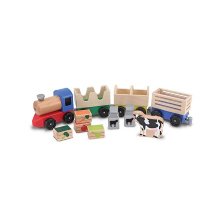Melissa & Doug Wooden Farm Train Set - Classic Wooden Toy (3 linking cars) (Melissa And Doug Stacking Train)