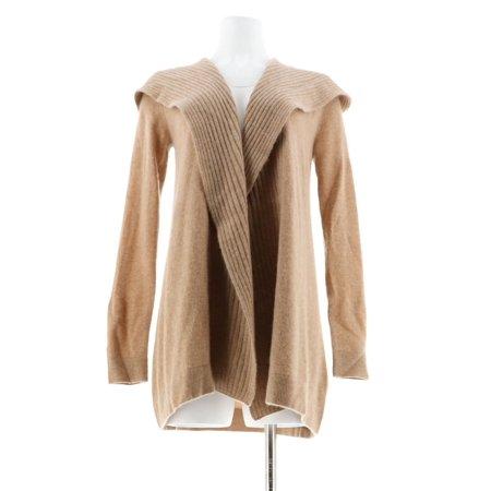 Isaac Mizrahi 2-Ply Cashmere Hood Ribbed Sweater Coat A235052