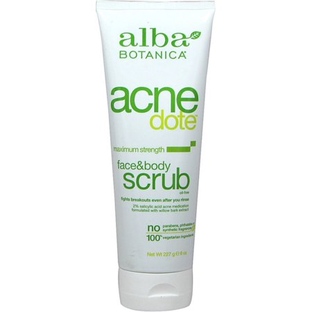 Alba Botanica Acne Dote Face & Body Scrub, Maximum Strength 8 - Alba Scrub