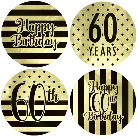 Gold Foil 60th Birthday Favor Labels 40ct - Black and Gold Stripe and Polka Dot Birthday Party Supplies - 40 Count Stickers (1 3/4 inch) (Polka Dot Birthday Supplies)