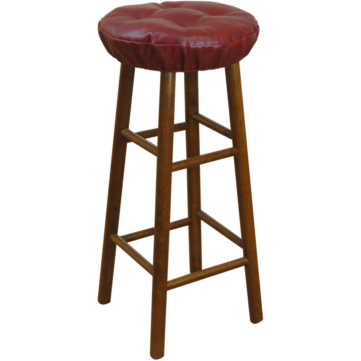 """Gripper Non-Slip 14"""" x 14"""" Faux Leather Tufted Barstool Cushions, Set of 2"""