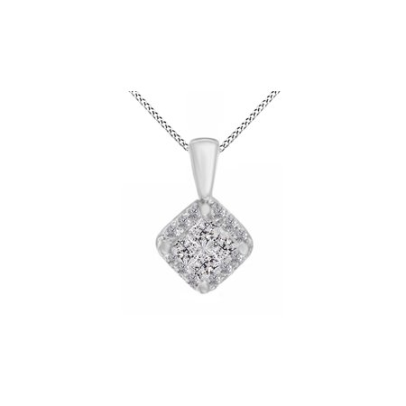 1/4 Carat T.W Princess Cut Quad Natural Diamond Frame Pendant in 14K Solid White (14k Yg Frame)