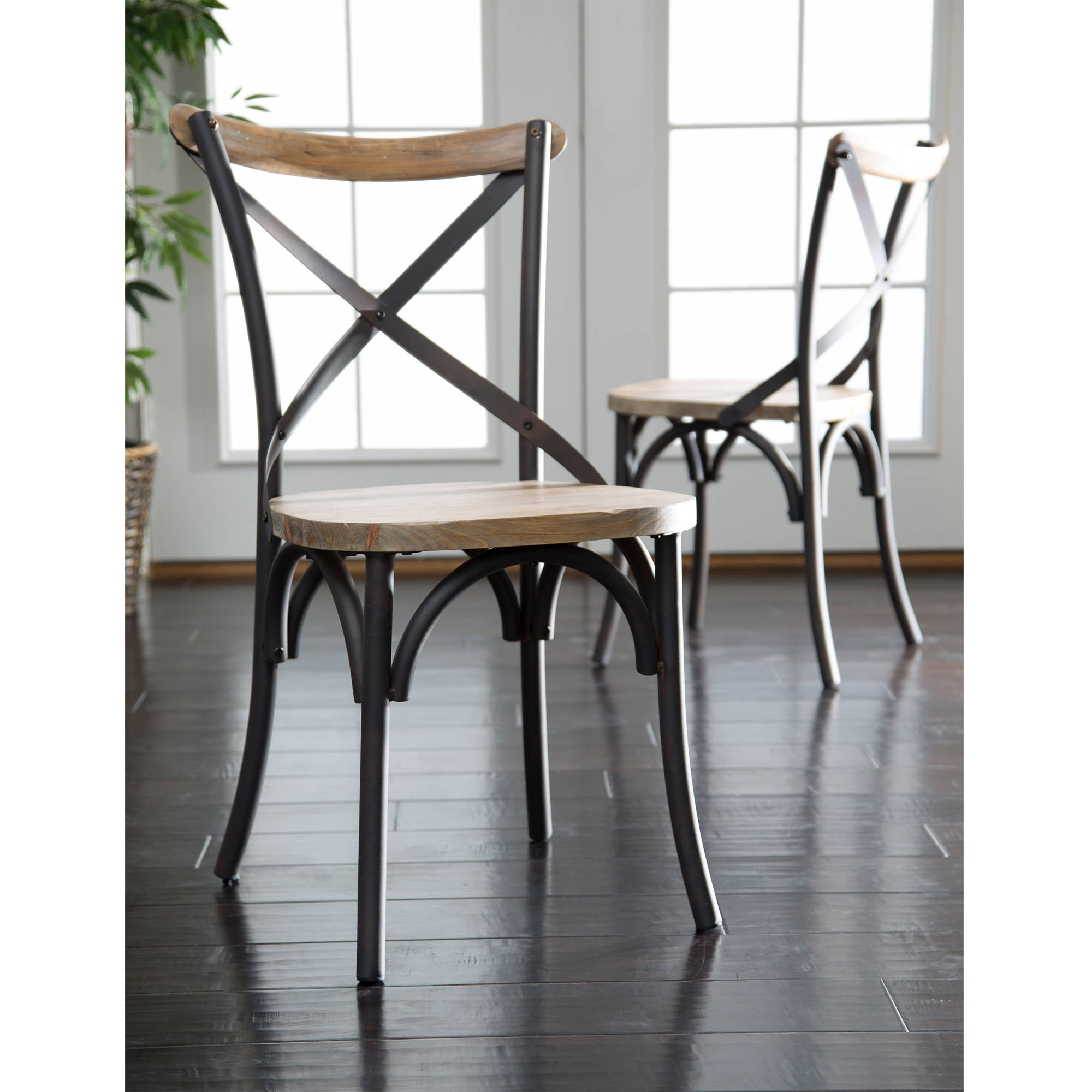 Walker Edison Rustic Reclaimed Solid Wood Dining Chairs Set of 2