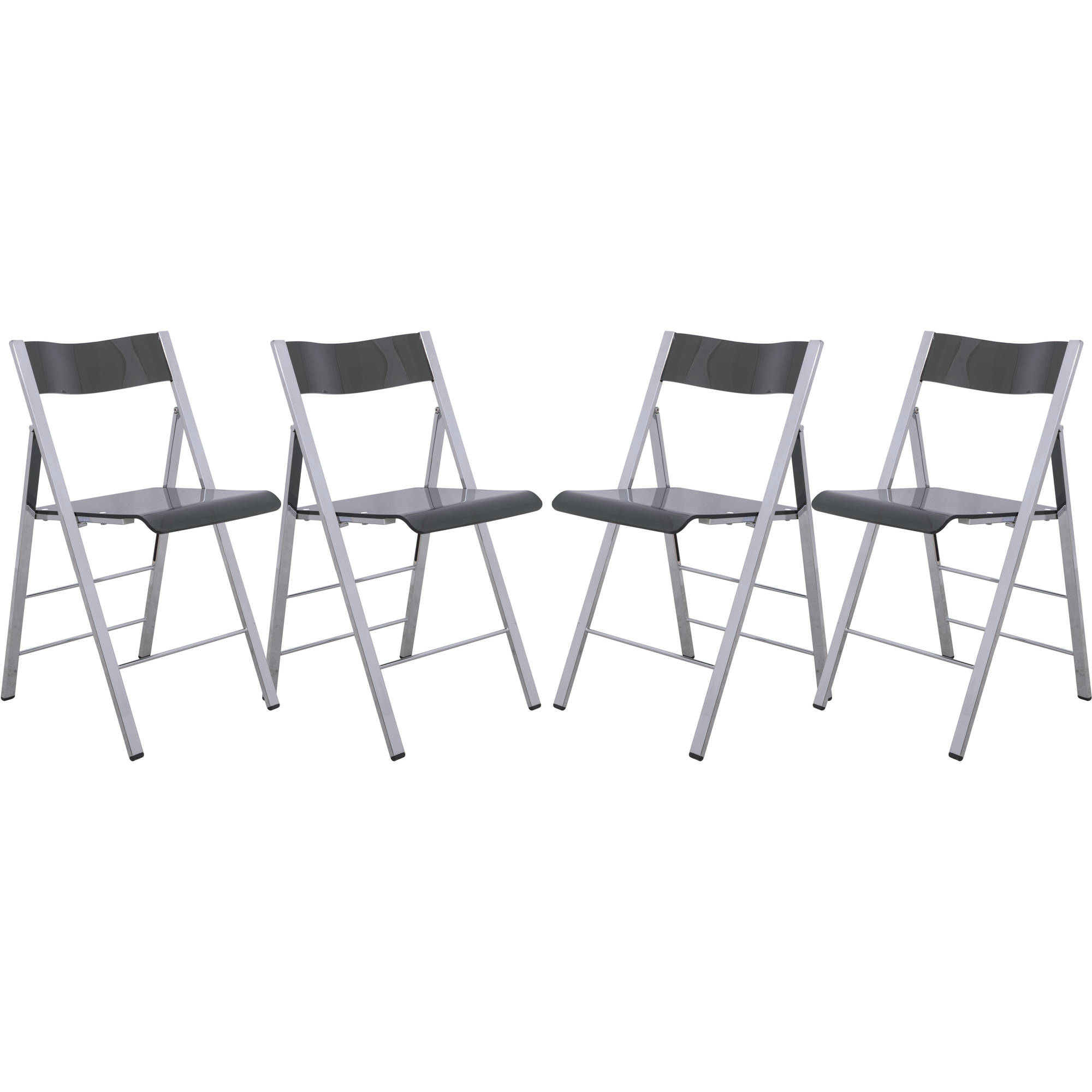 LeisureMod Menno Modern Acrylic Folding Chair in Transparent Black, Set of 4