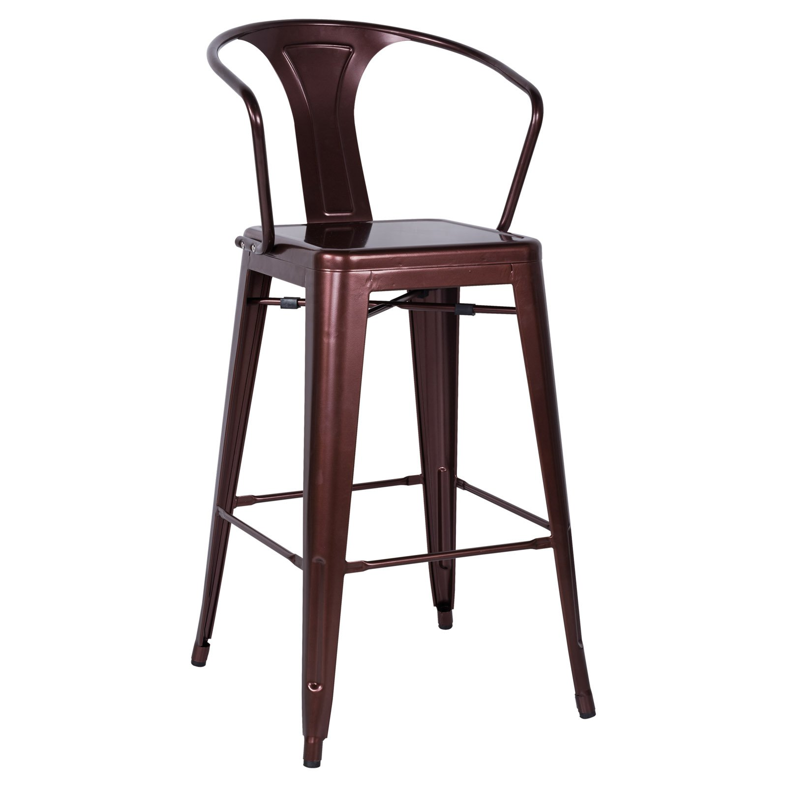Chintaly Linneus 30 In Galvanized Steel Bar Stools Set Of 4