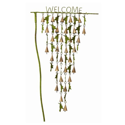 Ancient Graffiti Verdigris Copper Hummingbirds with Welcome Staked Yard Art