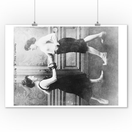 Women Boxing Match - Vintage Photograph (9x12 Art Print, Wall Decor Travel Poster)