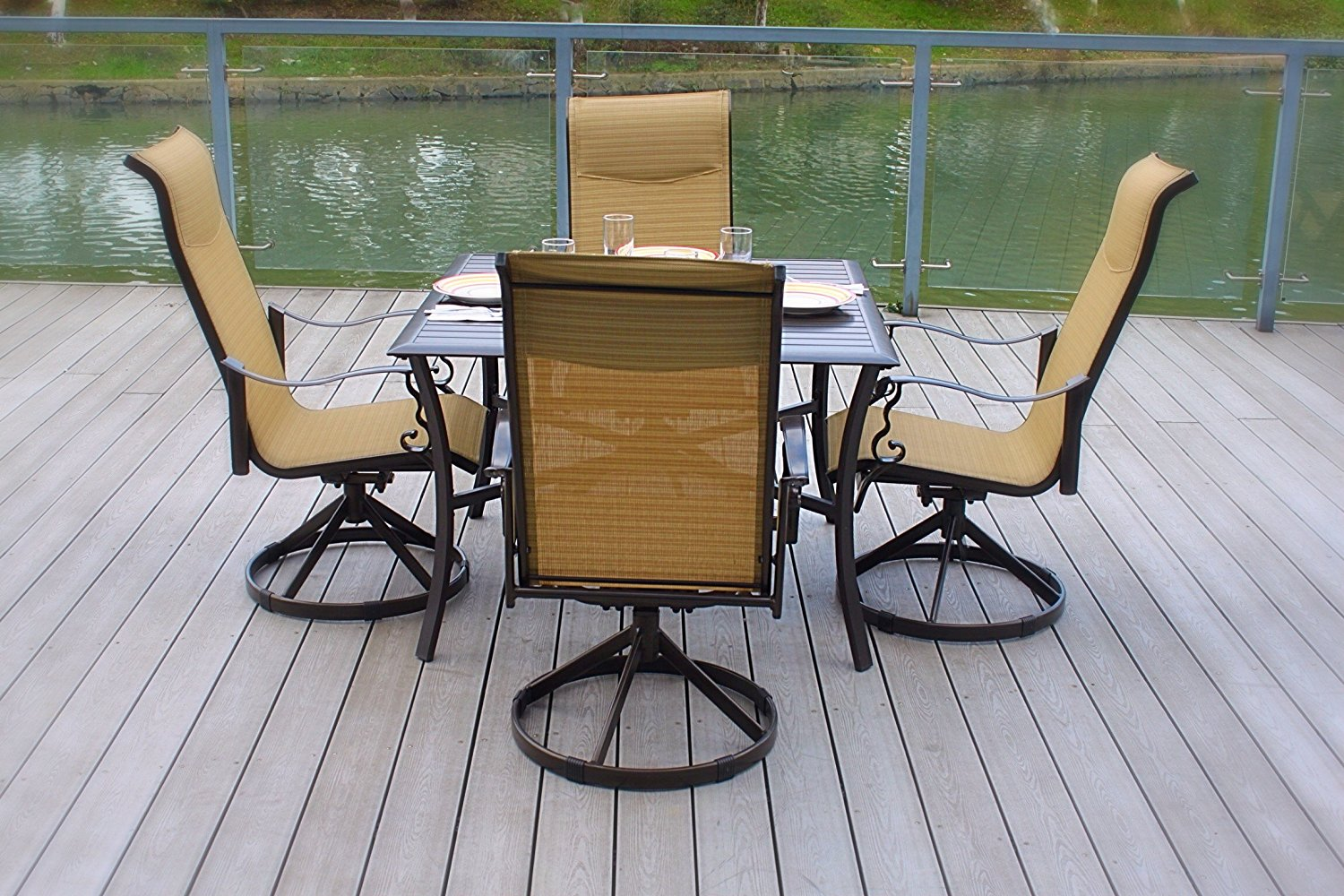 5pc Cast Aluminum Swivel Patio Furniture Dining Room Set with Slat Top Table- Bronze & Cream by