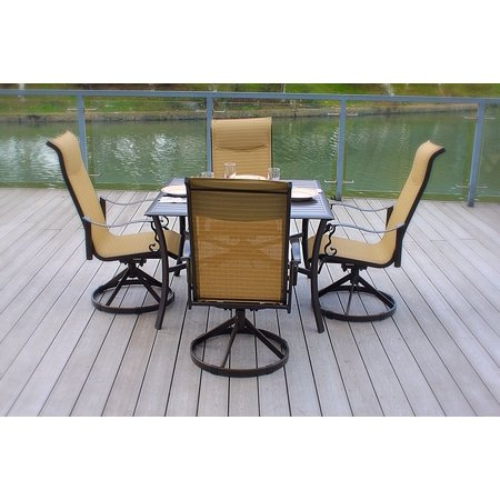 5pc Cast Aluminum Swivel Patio Furniture Dining Set With Slat Top