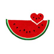 ID 1196 Watermelon Heart Patch Summer Sweet Fruit Embroidered Iron On Applique