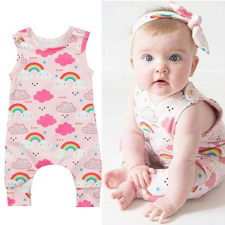 Rainbow Romper Infant Girl Playsuit Kids Baby Jumpsuit Clothes Babys - Rainbow Girls Clothes