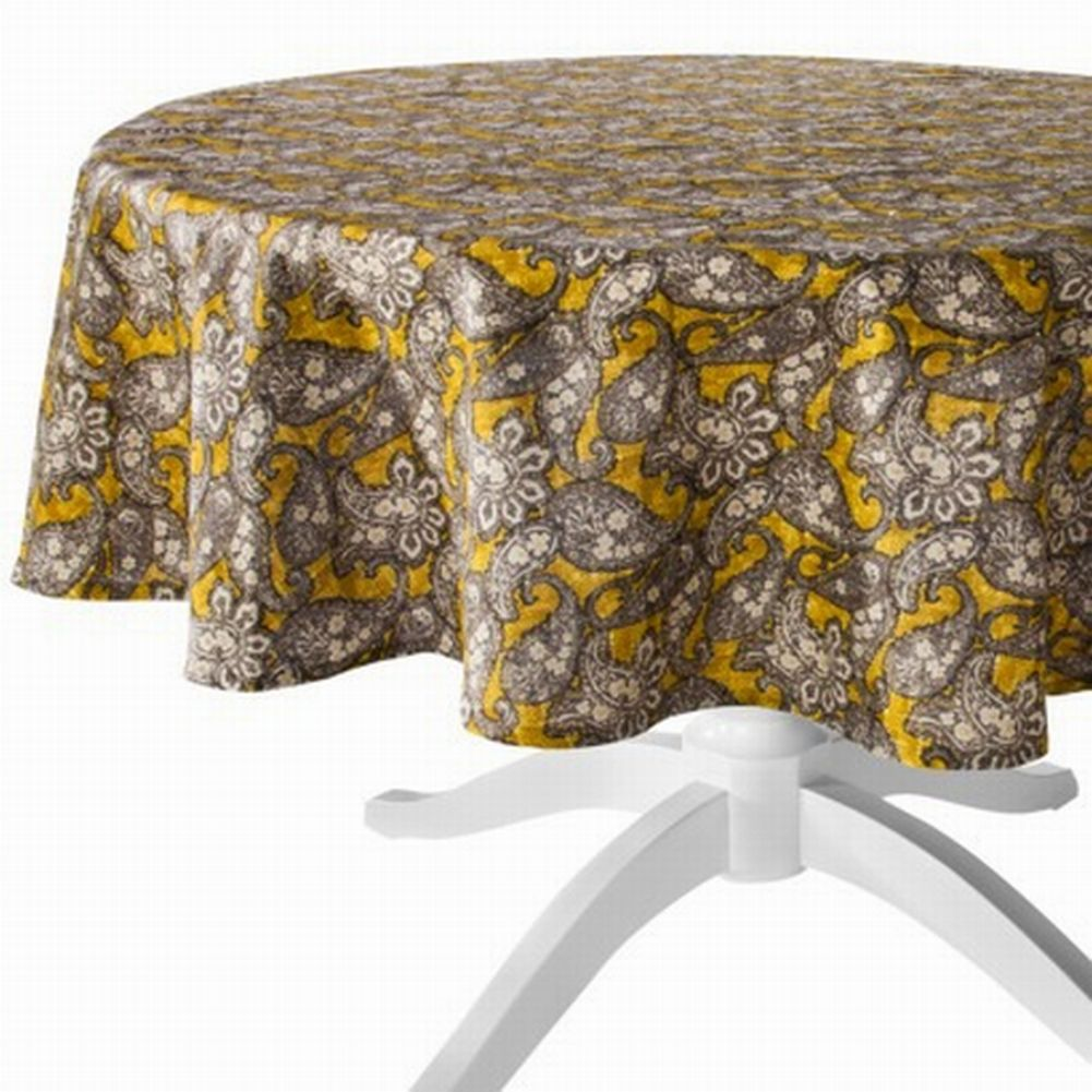 Yellow Gold Tan Paisley Tablecloth Fabric Table Cloth 70 Round