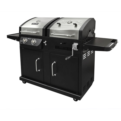 Dyna-Glo Dual Fuel 2-Burner Propane Gas LP and Charcoal Grill with Side Burner by GHP Group, Inc.