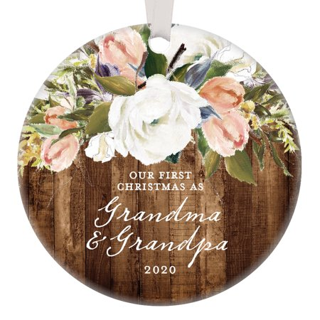 Grandparents Christmas Ornament, 2019 Our First Christmas as Grandma & Grandpa, 1st Xmas Grandmom Grandpop Woodgrain Modern Farmhouse Present 3