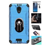 Compatible Case for Alcatel TCL A1 / TracFone Alcatel TCL A1 Prepaid Smartphone / Alcatel Insight, Multi-Functional Shock-Resistant Hard Cover Case with Ring/Kickstand/Car Mount/Tempered Glass (Blue)