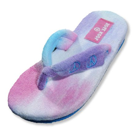 Sole Kool - Girls Terry Cloth Peace Flip Flop turquoise/pink/purple / X-Small - Flip Flop Cut Outs