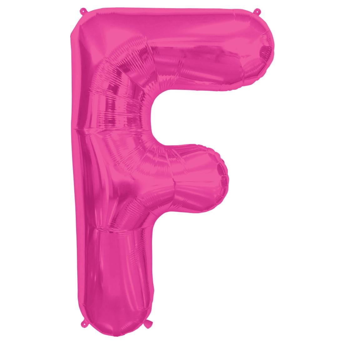 "Northstar Alphabet Letter F Shape Solid Jumbo Helium 34"" Foil Balloon, Magenta"