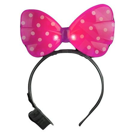 Minnie Mouse Light Up Pink Headband Xo Polka Dot Led Flashing Ears