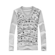 Light Gray S Glittery Front Long Sleeved Pullover Knitting Shirt for Mens