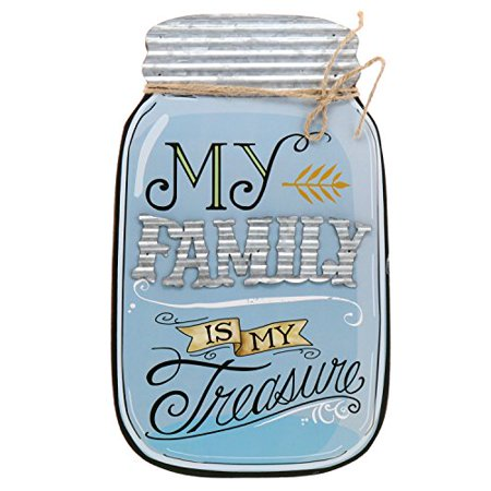 (Barnyard Designs Rustic My Family Is My Treasure Mason Jar Decorative Wood and Metal Wall Sign Vintage Country Decor 14