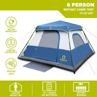 Qomotop 6 Person 60 Seconds Set Up Camping Tent with Top Rainfly (Blue)
