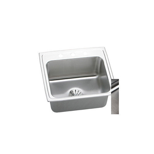 Elkay DLR221910PD4 Gourmet Lustertone Stainless Steel Single Bowl Top Mount Sink Kit with 4 Faucet Holes