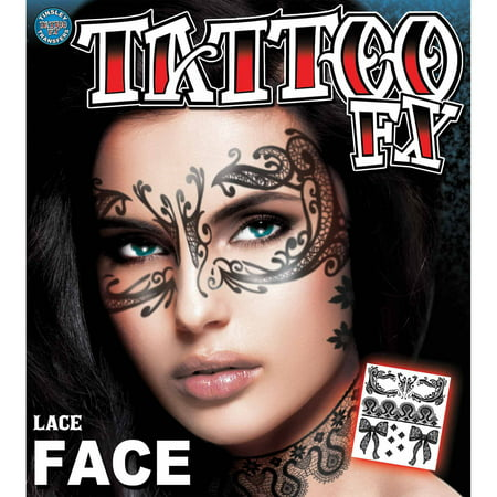 Lace Face Tattoo Adult Halloween Accessory](Halloween Cat Face Makeup Adults)
