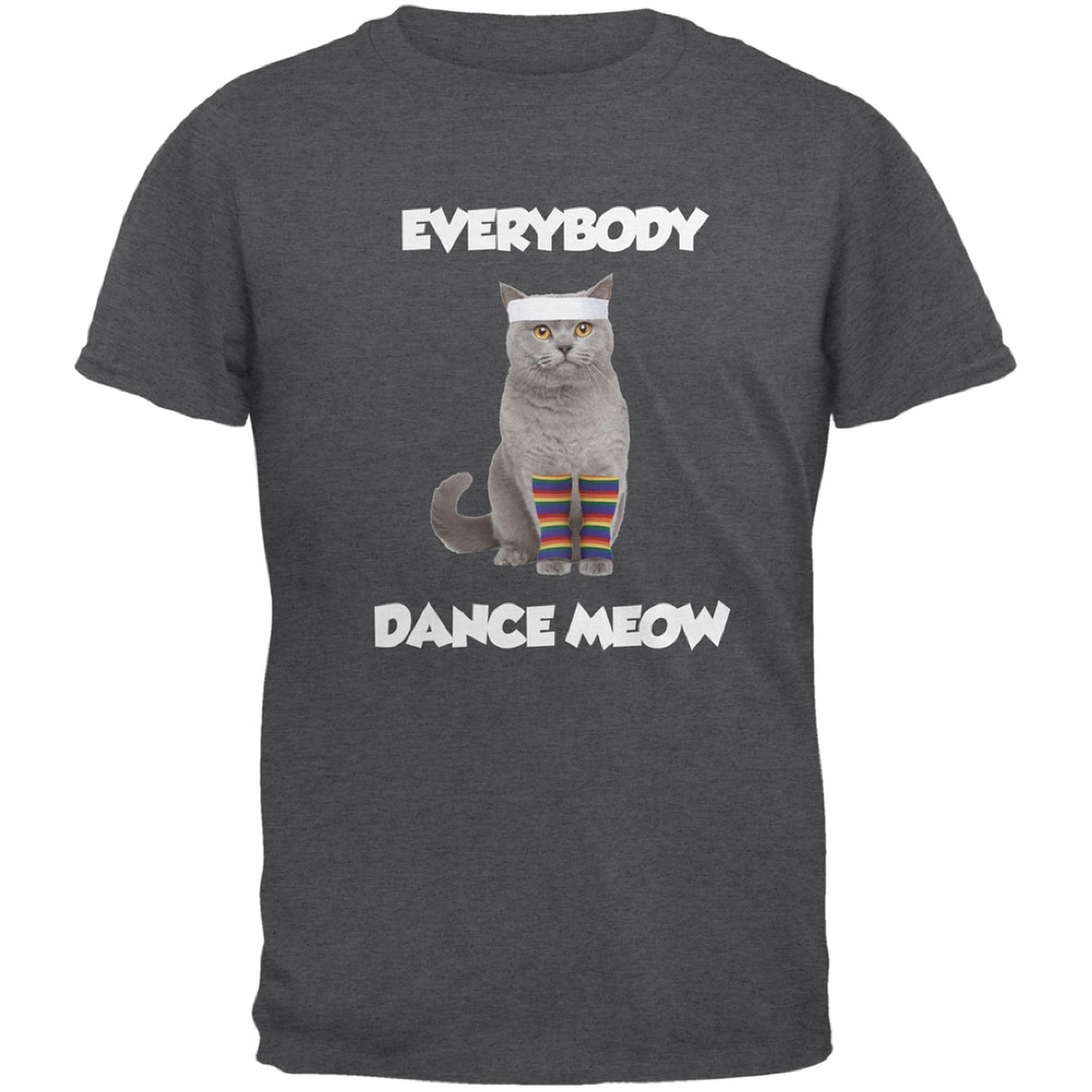 Everybody Dance Meow Dark Heather Adult T-Shirt