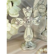 DLusso Designs 4370 Medium Ivory Silver Classic Cross With Base, Pack Of - 3.