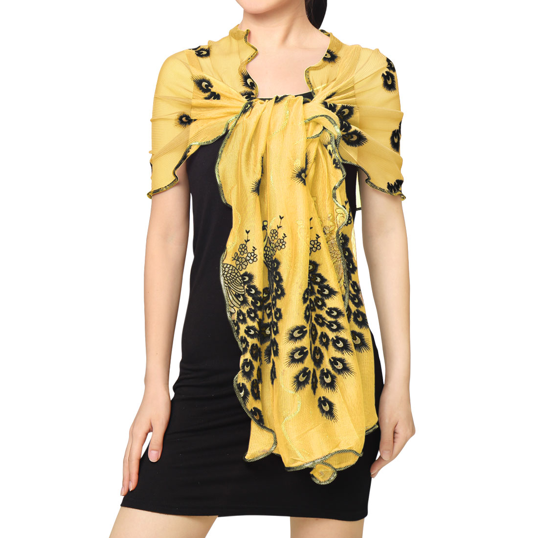 Tasharina Women's Rectangle Semi Sheer Floral Peacock Pattern Mesh Scarf Yellow