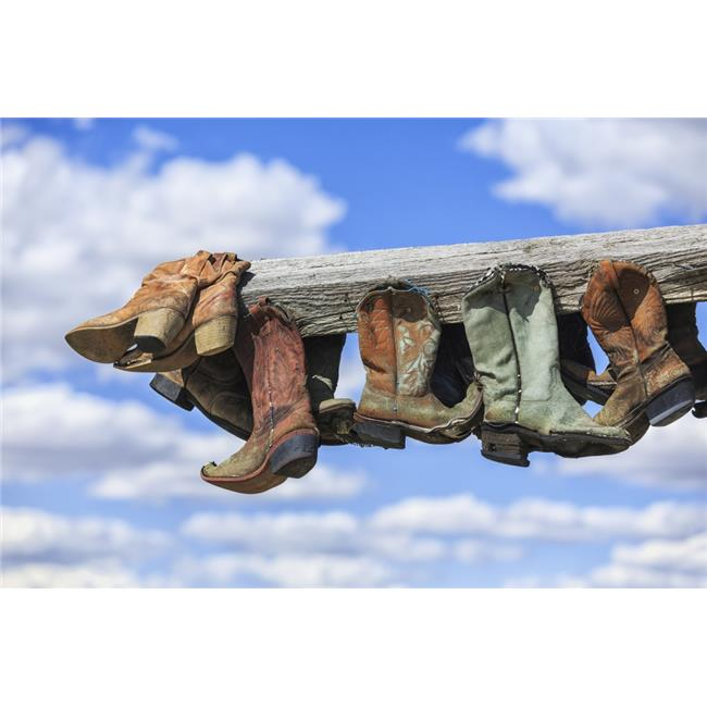 Old Cowboy Boots Hanging in Memory of John Booth Great Sandhills Near Sceptre - Saskatchewan Canada Print - 38 x 24 in. - Large - image 1 of 1