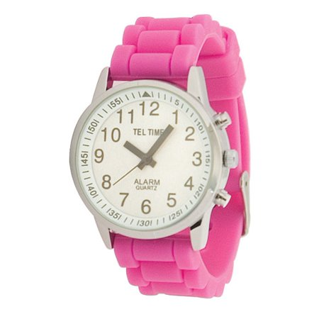 Face Rubber Band - Ladies Touch Talking Watch - Large Face - Pink Rubber Band - English